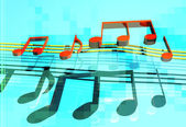 3d jumping musical notes — Stock Photo
