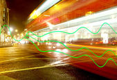Rush of lights with long exposure at oxford street, london — Stock Photo