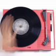Red record player - Stock Photo
