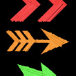 Three wooden arrow signs — 图库照片