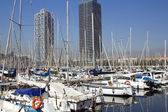 Line of yachts in harbour — Stockfoto