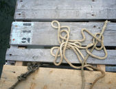 Rope on pier — Stock Photo