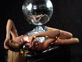 Sexy discoball woman — Stock Photo