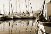 Boat reflections — Stock Photo
