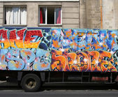 Graffiti on truck — Stock Photo