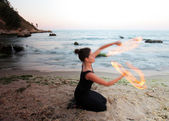 Fire poi — Stock Photo