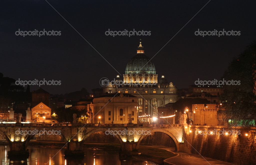Basilica s. pietro in rome, italy at dusk — Stock Photo #12811839