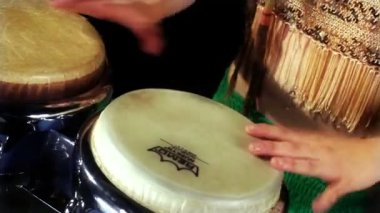 A female percussion drummer — Stock Video