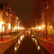 Reflection in canal of red light district neon lights , amsterdam — Stock Video