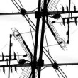 Stock Video: Abstract pattern of tv aerials and satellites on rooftops