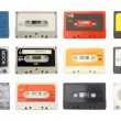 Sequence made from close up  shots of cassette music tapes — Vídeo Stock
