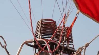 Close up of the gas engines on a hot air balloon — Stock Video