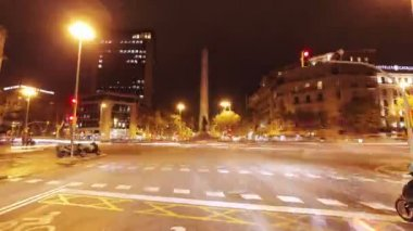 Timelapse of driving around barcelona at night — Stock Video