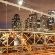 Timelapse of brooklyn bridge at night, new york - Stockfoto