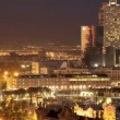 Panoramic view of the city of barcelona at night - Stock Photo