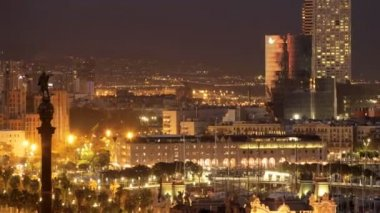 Panoramic view of the city of barcelona at night — Stock Video