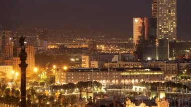 Panoramic view of the city of barcelona at night — Stock Video #16202111