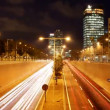 Stop motion urban scene of traffic on a major road at dusk in barcelona, spain — Stock Video