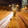 Rush of night time traffic on motorway in timelapse scene, barcelona, spain — Stockvideo