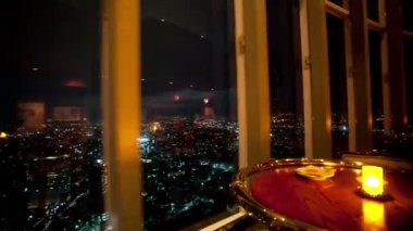 Timelapse at night of the view from the rotating restaurant — Stock Video