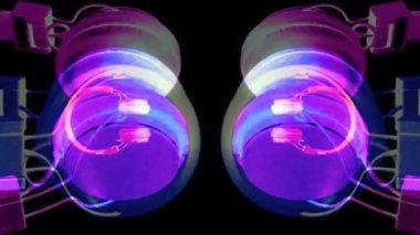 Cool looking audio headphones, spinning around stop-motion stylee — Stock Video