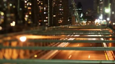 Timelapse of brooklyn bridge at night, new york with a tilt shift lens — Stock Video