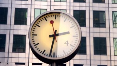 Clock in london docklands — Stock Video
