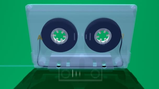 Una compilación de cinta de cassette en movimiento 3d — Vídeo de stock