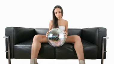 Beautiful sexy woman with a discoball — Stock Video #16501591