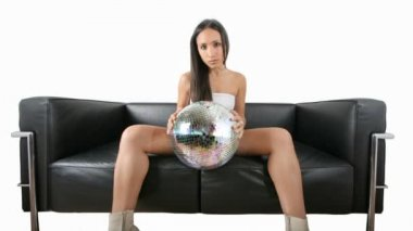 Beautiful sexy woman with a discoball — Stock Video
