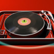 Mix of 3d turntable with filmed record and hand — Stock Video