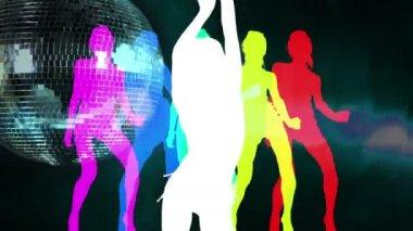 Dançarina sensual sombra sobre um funky discoball girando — Vídeo Stock