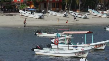 Small fishing boats in the harbour in puerto escondido, mexico — Wideo stockowe