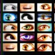 Digital animation of hd screens showing different big brother eyes watching — Stock Video #16946435