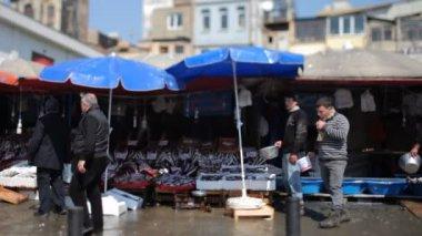 Fisk marknaden scen, istanbul, turkiet, med en tilt och shift-objektiv — Stockvideo