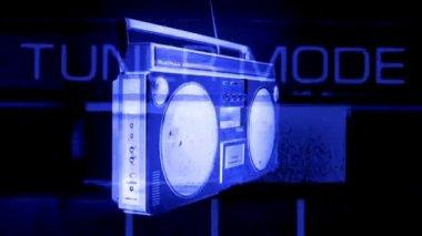Stopmotion fantastyczny wygląd retro blaster getta wiruje wokół — Wideo stockowe