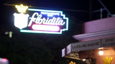 Timelapse of the famous floridita bar in havana, cuba, at night