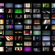 Stock Video: Digital animation of hd screens showing film and tv related static distortion and countdowns