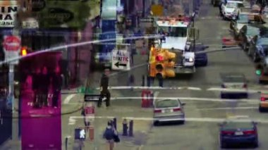 Abstract layered manhattan street scene with traffic and , nyc, america — Stock Video