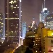 Skyscrapers and towers in manhattan skyline view at night — Stock Video