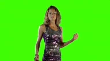 Green screen shot of a sexy woman dancing in a sparkly disco dress — Stock Video
