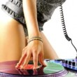 Close up shots of sexy female dj dancing and playing records — Stockvideo