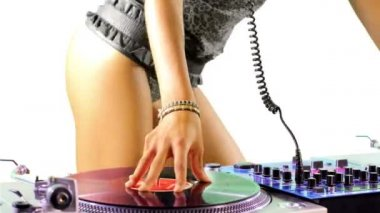 Close up shots of sexy female dj dancing and playing records — Stock Video