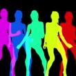 Abstract silhouettes made from a sexy disco dancer — 图库视频影像