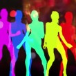 Stock Video: Abstract silhouettes made from sexy disco dancer