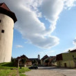 Timelapse of a scene in the Slovakian town of kezmarok - Stock Photo