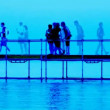 Abstract composition taken from walking along small pier over water — Wideo stockowe #17594527