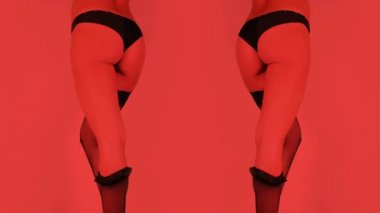 Stopmotion of sexy women leg and bum with lingerie coming off — Stock Video