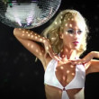 Stock Video: Sexy professional gogo lily malibu shot dancing under large rotating disco ball