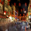 Stock Video: Rushing about in london's soho, chinatown at night